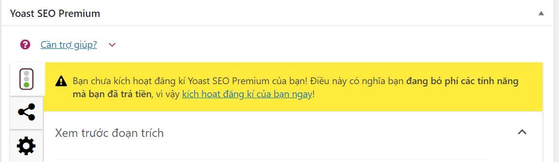 Hướng dẫn tắt thông báo plugin Yoast SEO Premium